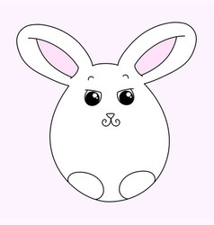 Cute white easter bunny vector