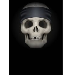 Dark background skull with bandana on head vector
