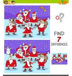 differences game with santa claus characters vector image