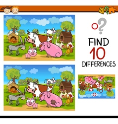 Differences test with farm animals vector