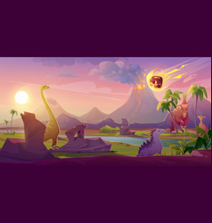 Dinosaurs extinct with meteorite falling on earth vector