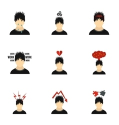 Emotional feelings icons set flat style vector