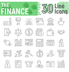 finance thin line icon set banking signs vector image
