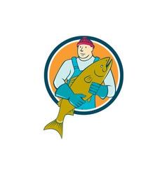 Fishmonger Salmon Fish Circle Cartoon vector image