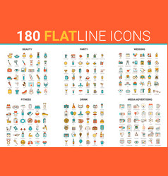 flat thin line icons set vector image