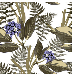 floral seamless pattern with wild berries vector image