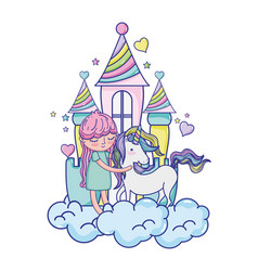 girl and beauty unicorn in the castle with clouds vector image