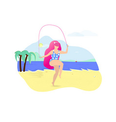 Girl with pink hair jumping with rope on beach vector