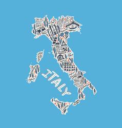 handdrawn map italy vector image