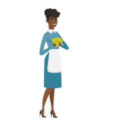 happy african cleaner holding money vector image