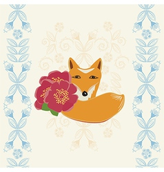 Happy Birthday card with a fox and flowers vector