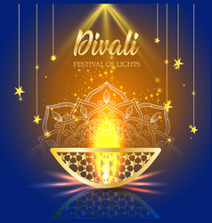 Happy diwali festival of lights retro oil gold vector