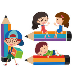 happy kids and giant pencils vector image