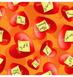Hearts with stickers and inscriptions valentines vector image