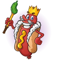 Hot Dog King Cartoon Character vector image