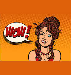 Human emotion wow woman vector