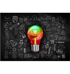 idea concept with light bulb and doodle sketches vector image