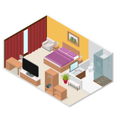 interior hotel room isometric view vector image