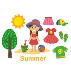 Isolated summer set with girl tree and clothes vector
