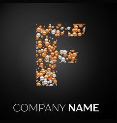letter f logo gold-silver dots alphabet logotype vector image