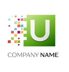 Letter u symbol in the colorful square vector