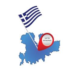 map of mykonos greece color vector image