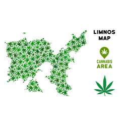Marijuana mosaic limnos greek island map vector