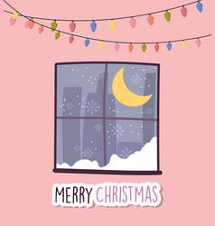 merry christmas celebration window winter snow vector image