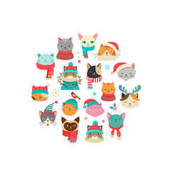 Merry christmas with cute cats characters vector