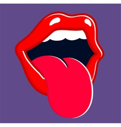 Mouth sticking out tongue and shouting vector image