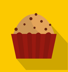 muffin with raisins icon flat style vector image