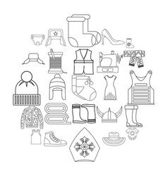 needlework icons set outline style vector image