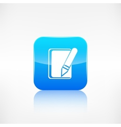 Notepad with pencil icon Application button vector image