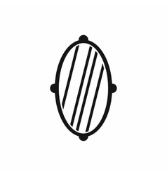 Oval mirror frame icon simple style vector