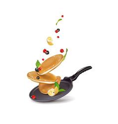 Pancake pan in a pan with berries vector