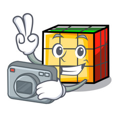 Photographer rubik cube mascot cartoon vector