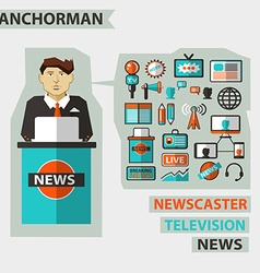 Profession of people Flat infographic Anchorman vector