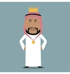 Proud arabian businessman with golden crown vector image