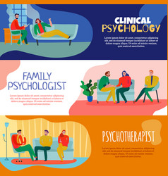 Psychotherapist and psychologist banners set vector