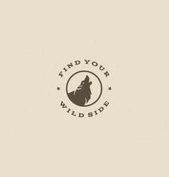 quote typography with hand drawn howling wolf vector image