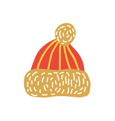 red knitted hat with bubo vector image