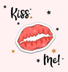 red lips sticker fashion patch element vector image