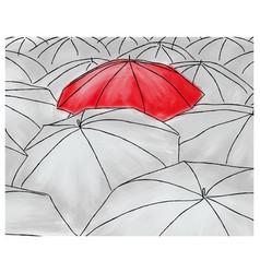 red umbrella in the grey umbrellas - pattern vector image