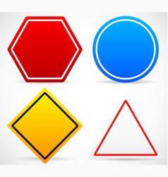 road sign shapes circle square triangle hexagon vector image