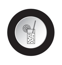 Round black white button icon - carbonated drink vector