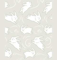 Seamless pattern with cute rabbits shapes vector