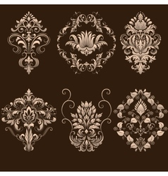 Set damask ornamental elements vector