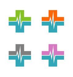 set health care pulse and cross logo template vector image