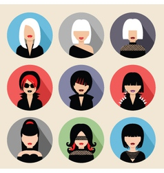 Set of circle flat icons with women vector image