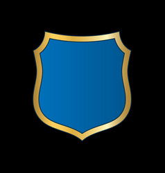 shield gold blue icon shape emblem vector image